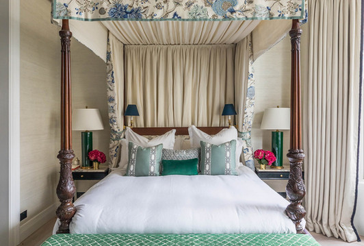 Bed Canopy and Curtains - Pat Giddens Ltd Interior Design - Barlow and Barlow Photographer - J Bond Photography