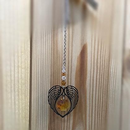 November Angel Wing Heart Swarovski Suncatcher