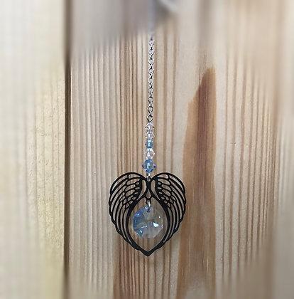 March Angel Wing Heart Swarovski Suncatcher