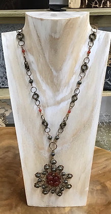 Pyrite and carnelian necklace