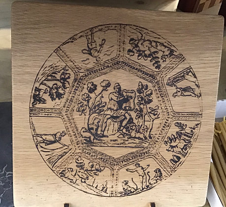 Ancient Wheel of Life on Oak