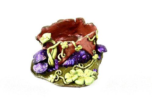 Lucky galaxy fairy home succulent  planter pot metallic with quartz crysta