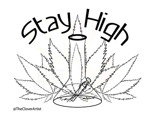 Adult Weed Coloring Page Stay High Pot Leaf Printable PDF