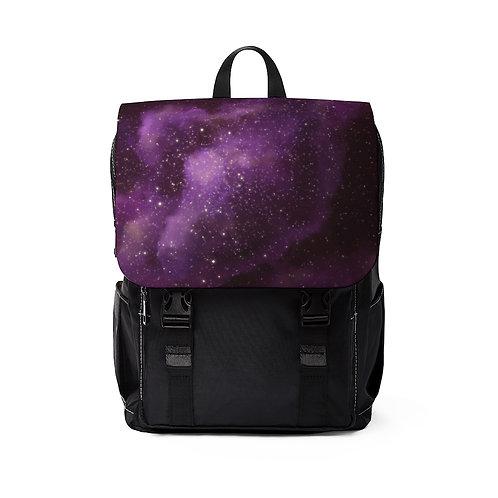 Purple Galaxy Nebula Unisex Casual Shoulder Backpack