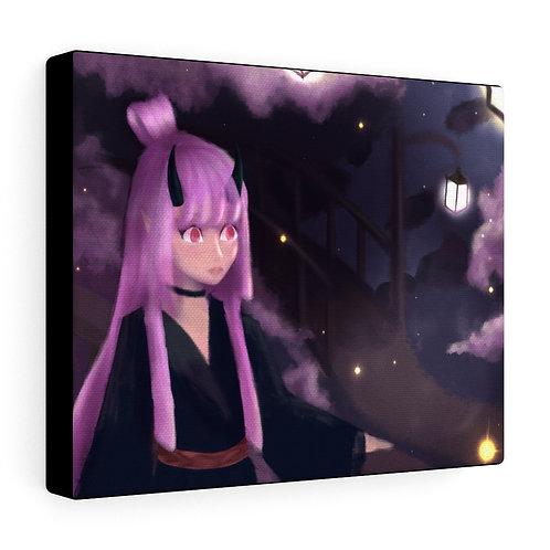 Pink Fantasy sakura Demon Firefly Digital Painting Canvas Gallery Wraps
