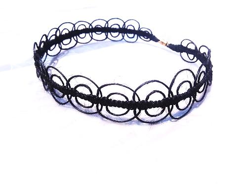 Orbital Black Lace Hemp Choker Necklace Handmade Made to order