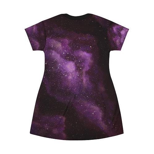 Galaxy Purple Nebula All Over Print T-Shirt Dress