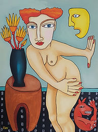 Interior with Nude, H40 x W30cm. Acrylic on canvas 2020
