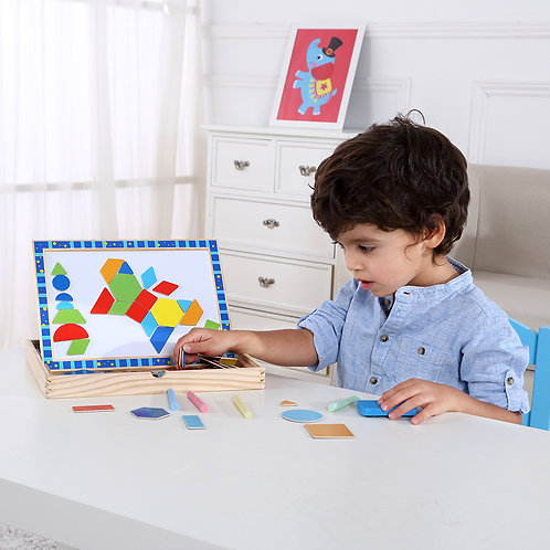 Magnetic Puzzle - Shapes in Wood Frame