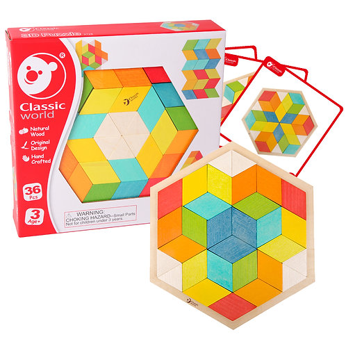 3D Wood Puzzle Activity Set with Cards