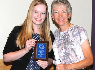 Paige Despain awarded Vallee Memorial Scholarship by Toni Vallee