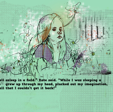 """""""Sunflower Girl"""" (Illustration from The Girl Who Lost Her Imagination)"""