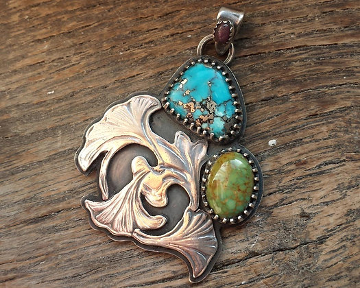 Nouveau Ginko Turquoise Pendant