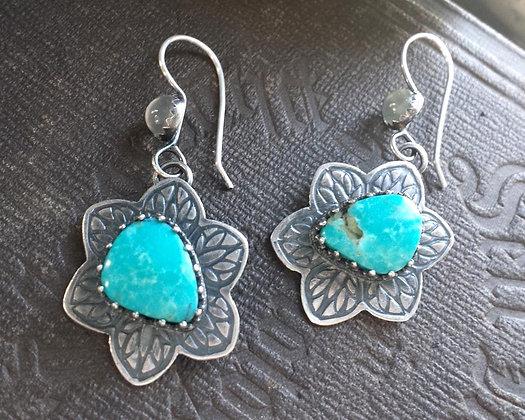 Moonflower Turquoise Moonstone Earrings SOLD