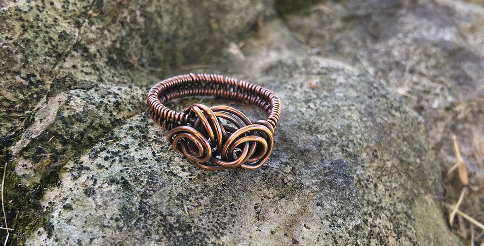 Copper Swirls Ring Sz 6 1/2