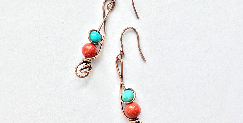 Coral & Turquoise Swirls