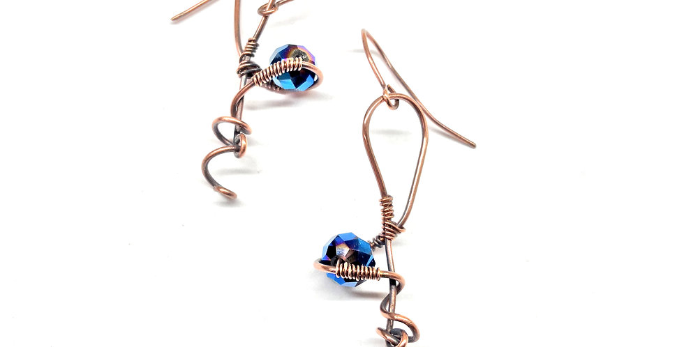 Twirly Copper Wire & Blue Glass Bead