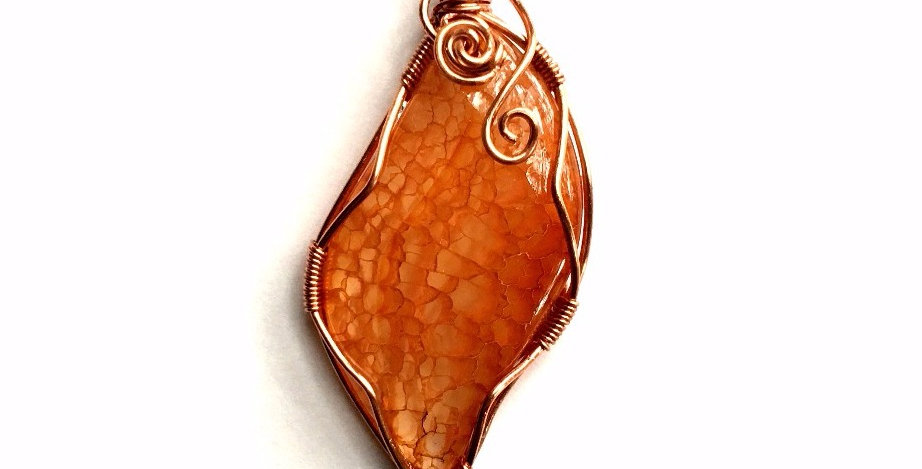 Amber-colored Dragon Vein Agate Leaf