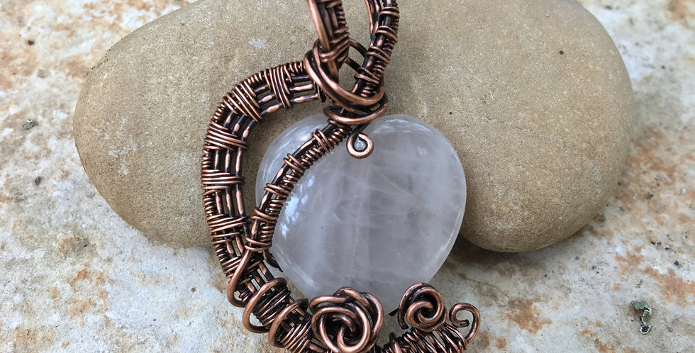Rose Quartz Heart & Copper 2