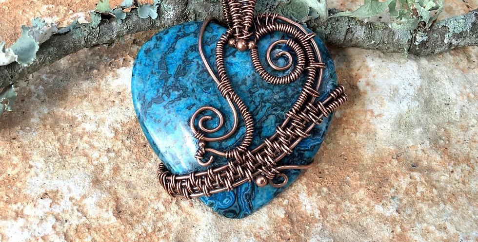 Blue Ripple Jasper Heart in Copper