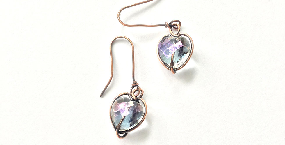 Faceted Glass Hearts