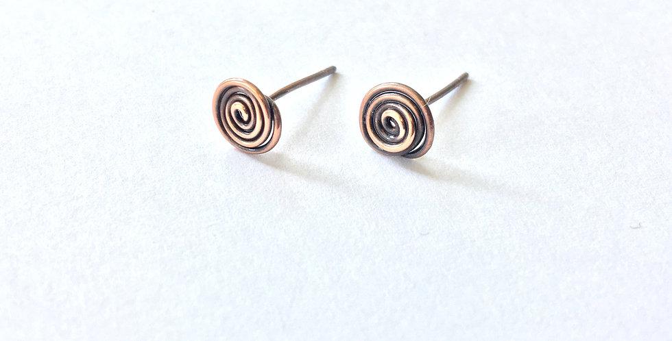 Spiral Copper Studs