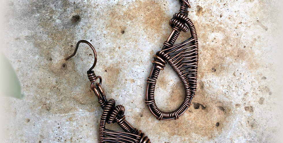 Woven Copper Long Teardrop