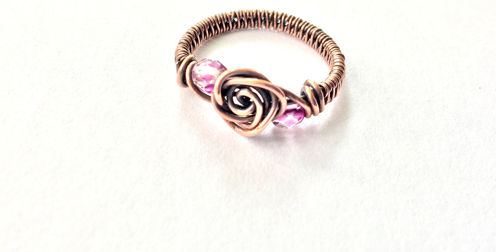 Rosette & 2 Glass Beads Ring Sz 6