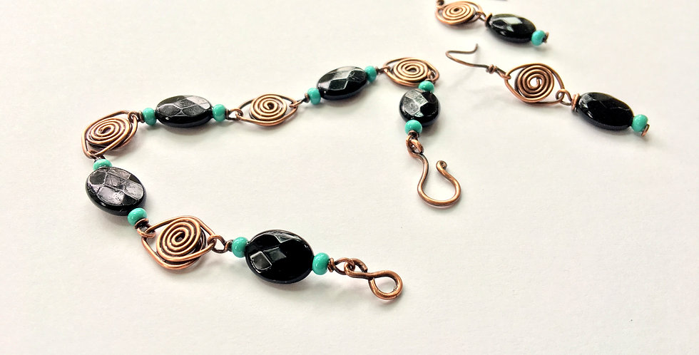 Black Onyx & Glass Bracelet & Earring Set