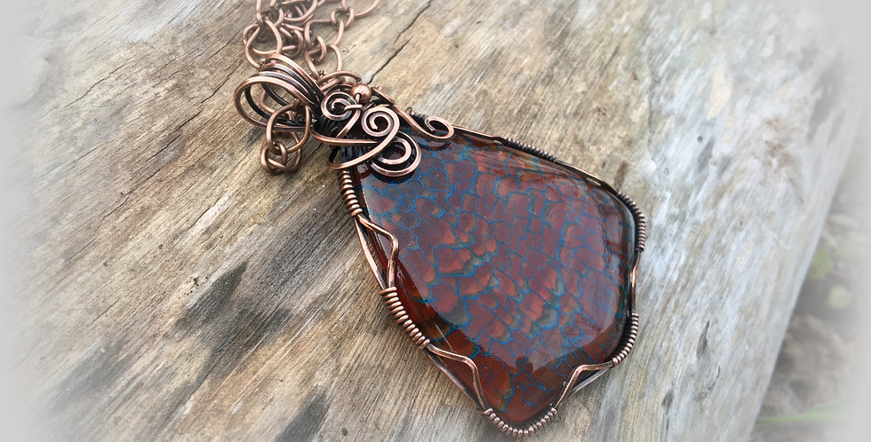 Amber & Blue Color Dragon Vein Agate