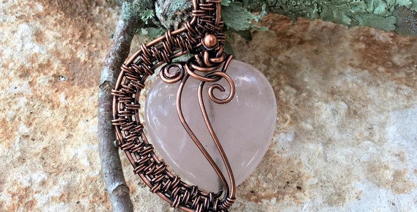Rose Quartz Heart in Copper 1