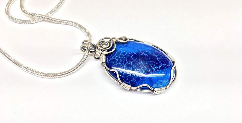 Blue Dragon Vein Agate Oval in Sterling