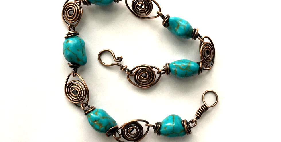 Turquoise Nuggets & Copper Spirals