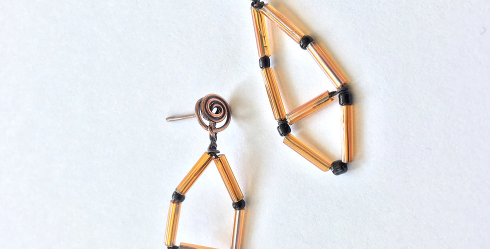 Glass Tube Beads on Copper Post
