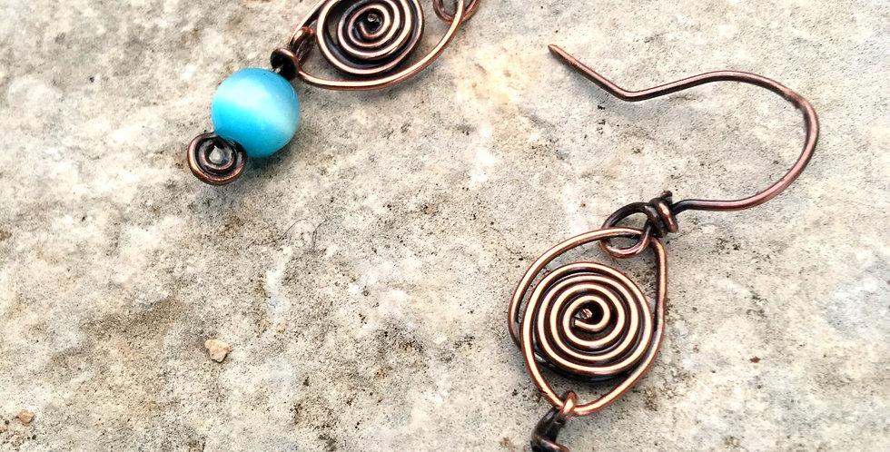 "Copper Spirals & ""Cat's Eye"" bead"