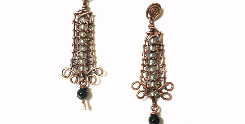 Pale Blue & Black Beads in Copper