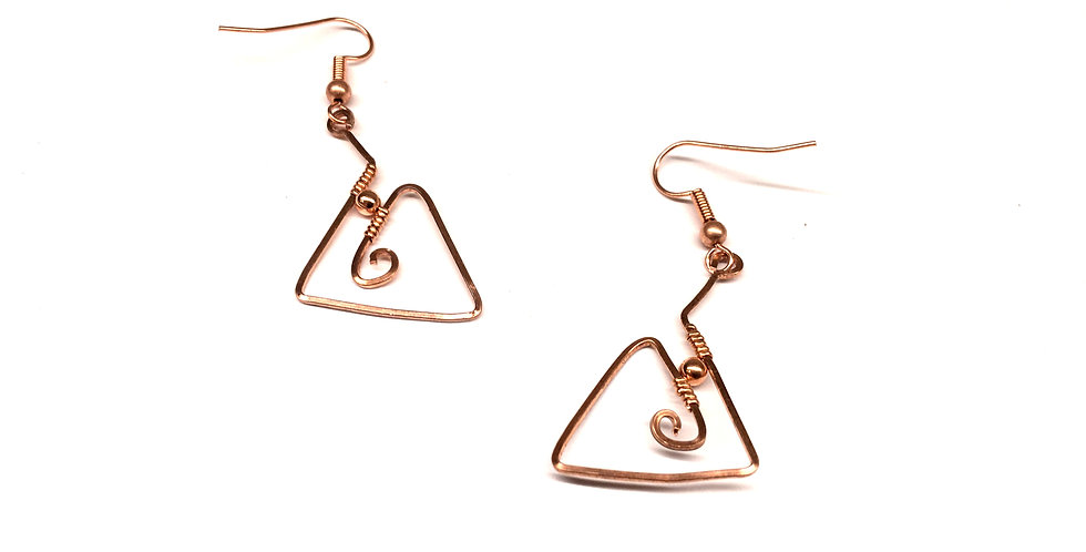 Hammered Copper Triangles & Bead