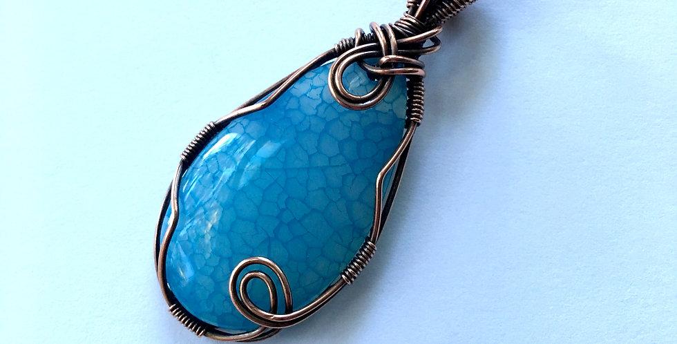 Blue Dragon Vein Agate Teardrop