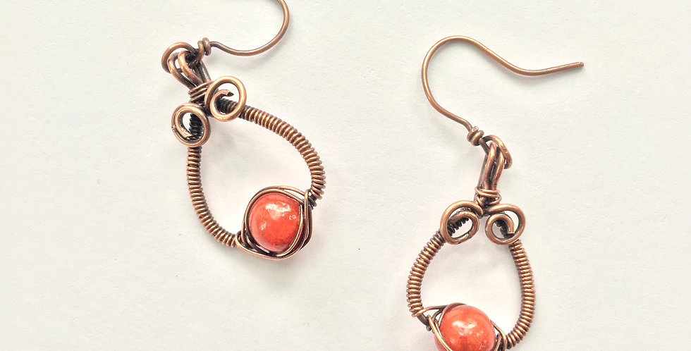 Coral Beads in Wrapped Copper Loops