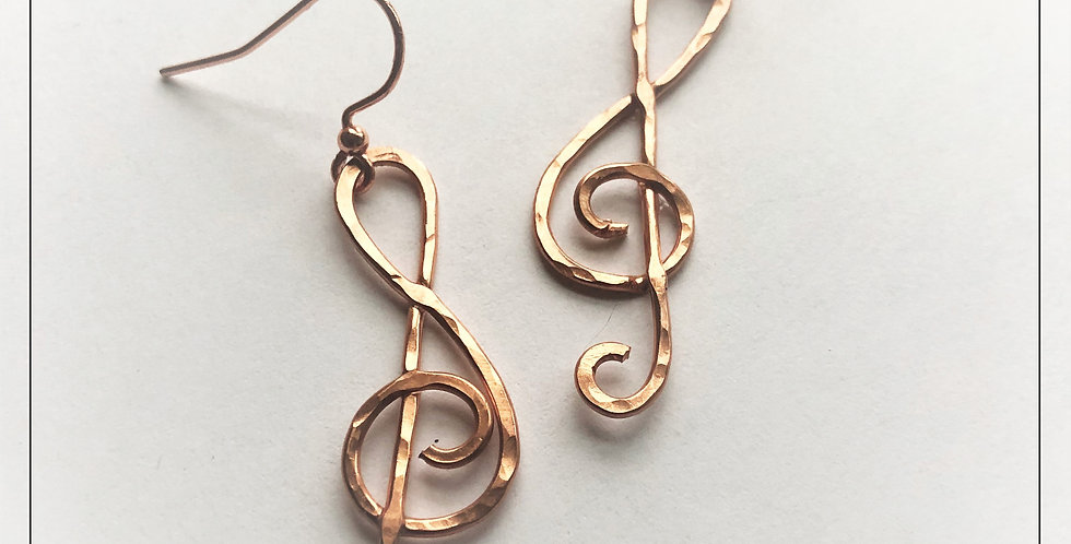 """Hammered Copper Clefs - 1 1/2"""""""
