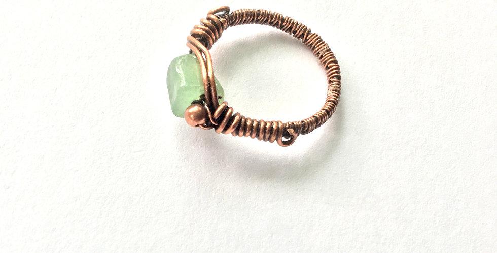 Green Aventurine Chip Ring Sz. 8 1/2