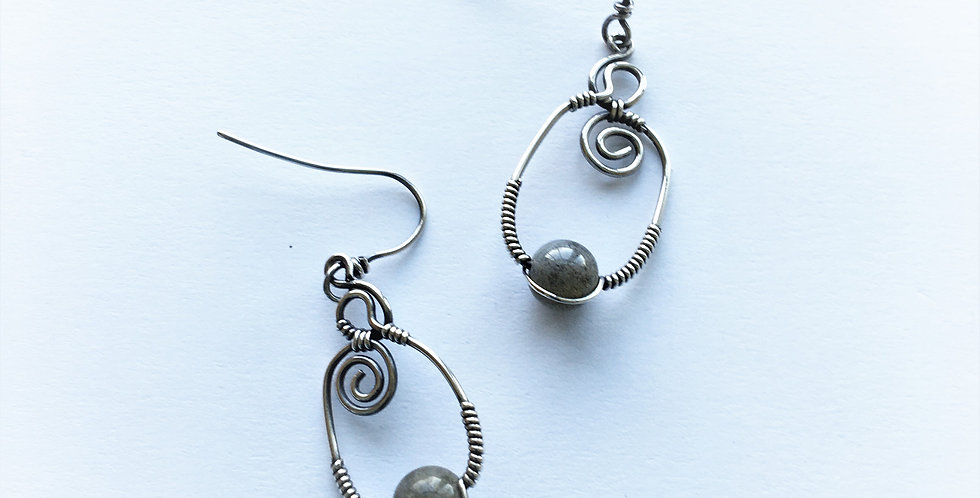 (FOR LINDA) Labradorite Beads in Silver