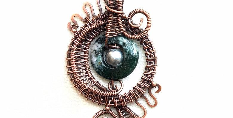 Moss Agate & Glass Bead in Copper