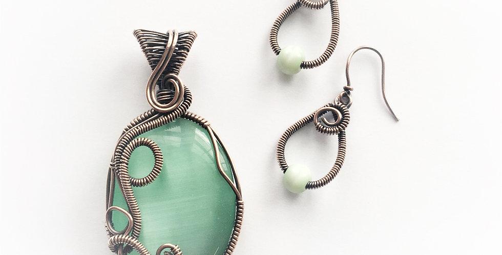 Green Cat's Eye Oval & Earrings
