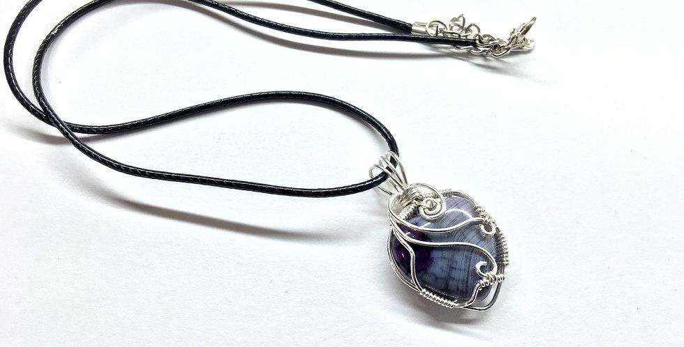 Blue Agate Heart in Sterling