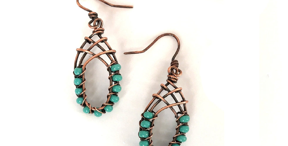 Turquoise-Colored Beads in Antiqued Copper