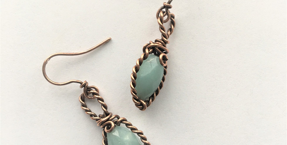 Faceted Amazonite Beads in twisted copper