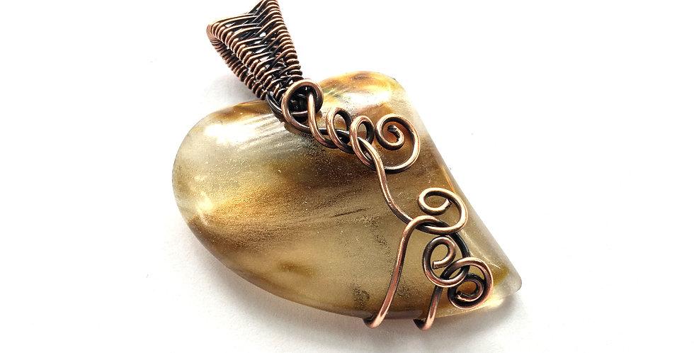 Fiery Glass Heart & Swirls