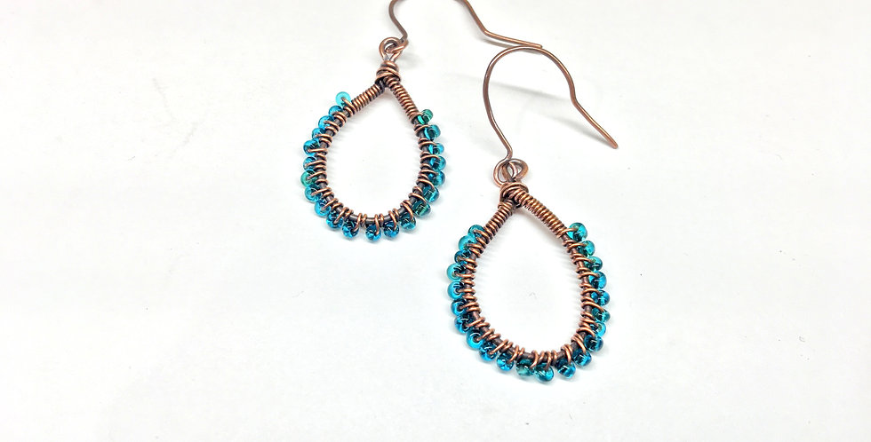 Teardrop Loops with Blue Beads