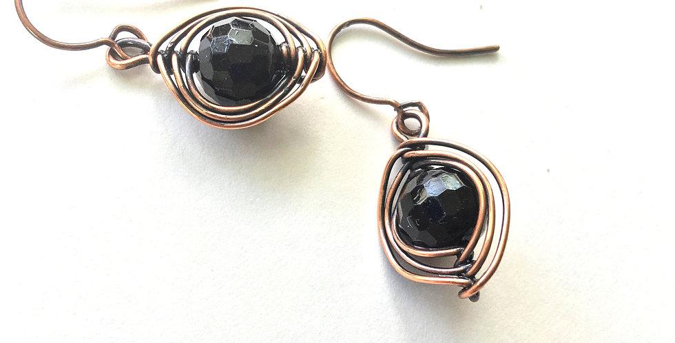 Herringbone Weave & Faceted Glass Beads